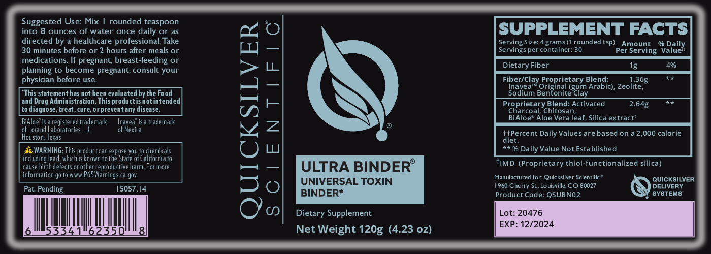Quicksilver Scientific Ultra Binder Universal Toxin Binder For Effective and Safe Detox