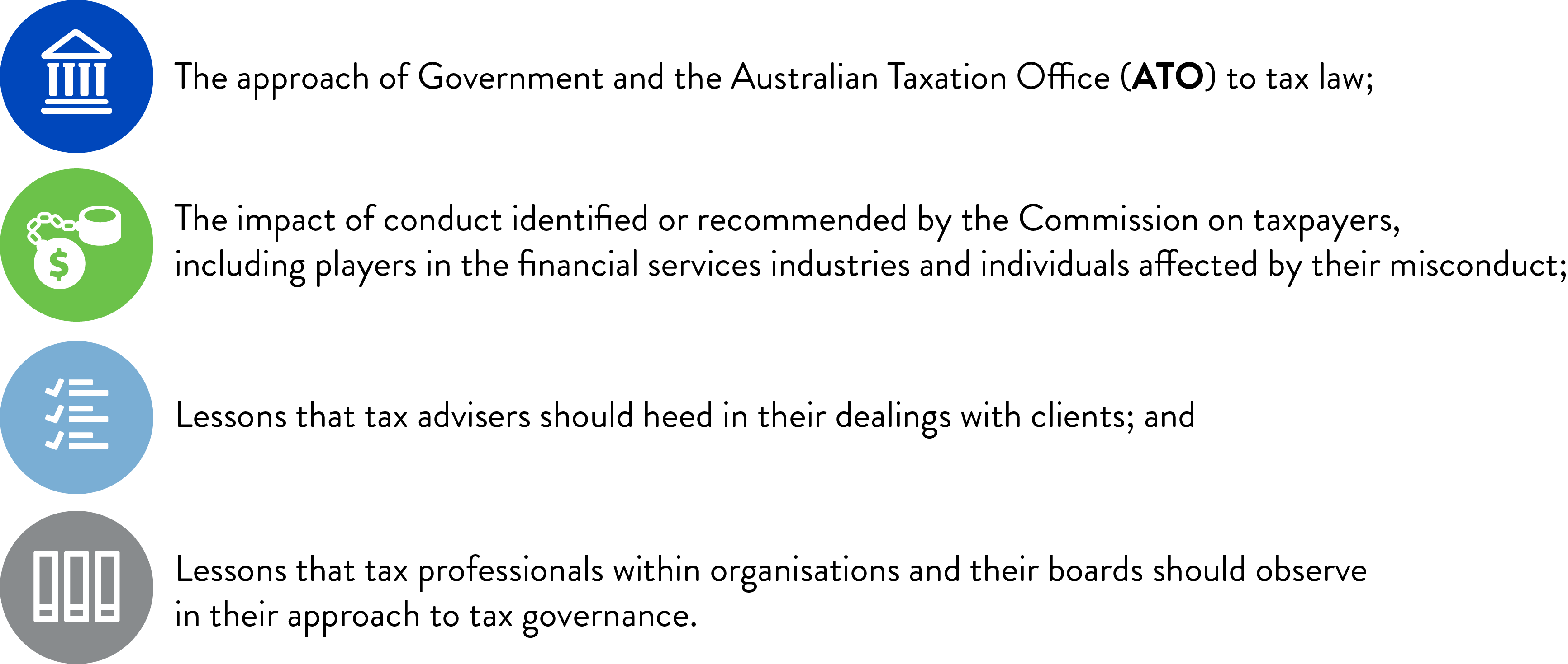 Image with the text: 1	The approach of Government and the Australian Taxation Office (ATO) to tax law; 2	The impact of conduct identified or recommended by the Commission on taxpayers, including players in the financial services industries and individuals affected by their misconduct; 3	Lessons that tax advisers should heed in their dealings with clients; and 4	Lessons that tax professionals within organisations and their boards should observe in their approach to tax governance.
