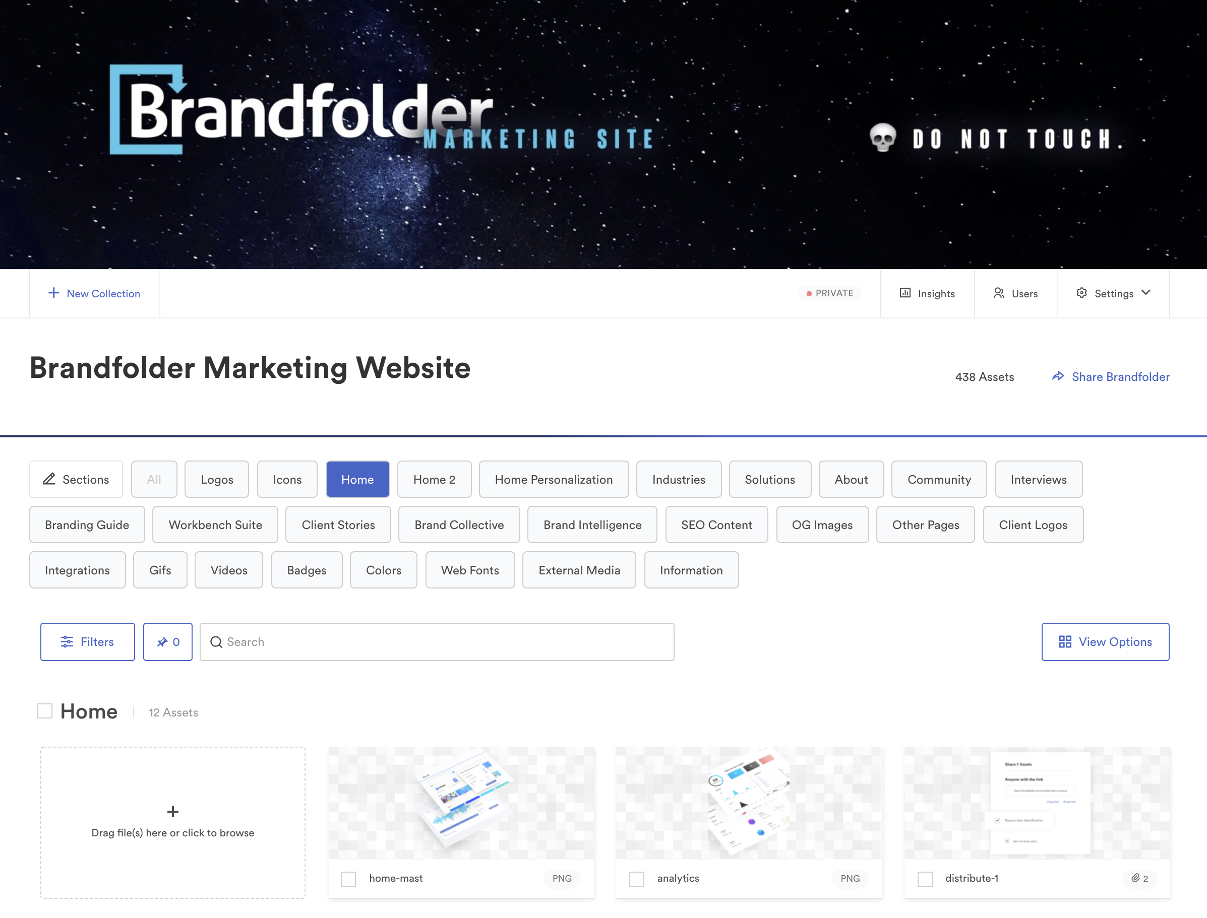 Brandfolder for marketing website