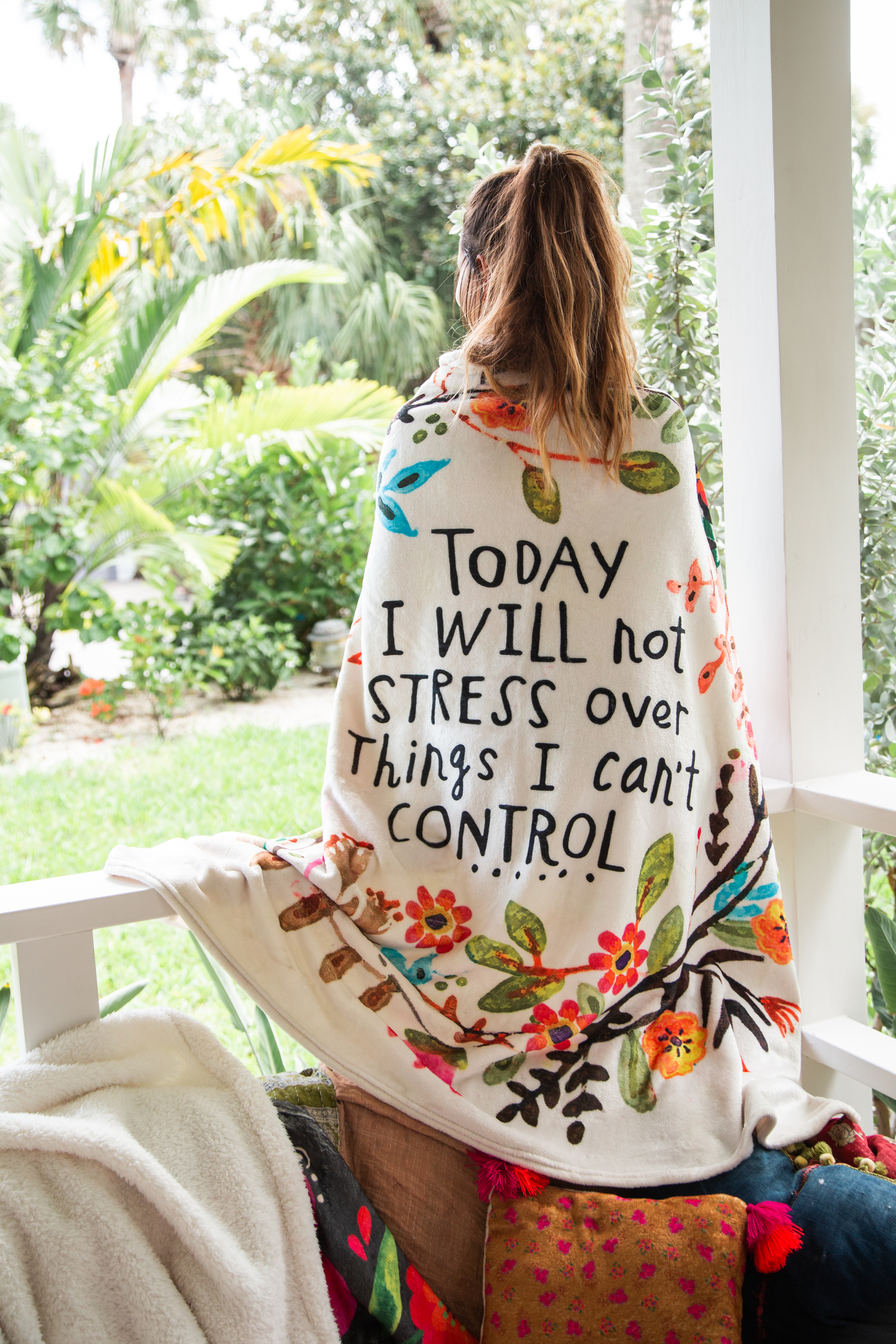 today I will not stress tapestry blanket