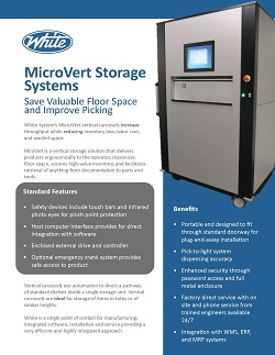 Automated Storage and Retrieval Systems, Hospitals, Pharmaceuticals, MicroVert, White Systems