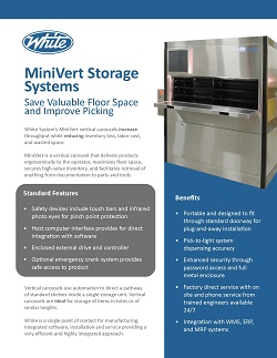 Automated Storage and Retrieval Systems, Hospitals, Pharmaceuticals, Minivert, White Systems