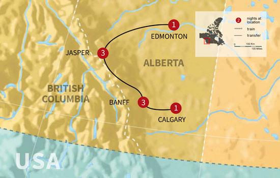 Fairmont Canadian Rockies Winter Getaway - Map