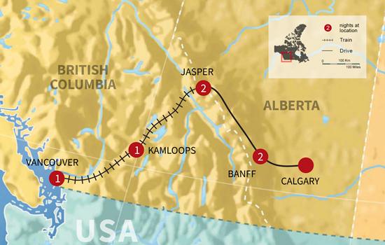 Rockies Rail and Road Vacation - Map