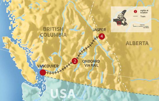 Jasper Winter Vacation by Train - Map