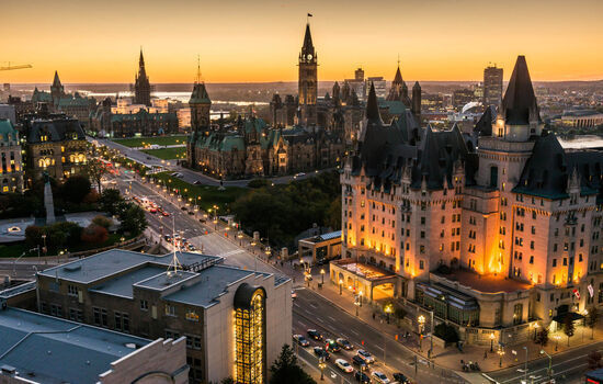 Stay in the historic Fairmont Chateau Laurier in Canada'a capital city, Ottawa.