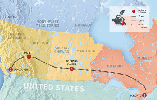 Cross Country Journey by Rail in Winter - Map