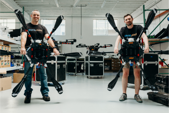 DroneSeed founders DroneSeed Grant Canary CEO and Ben Reilly CTO with drones