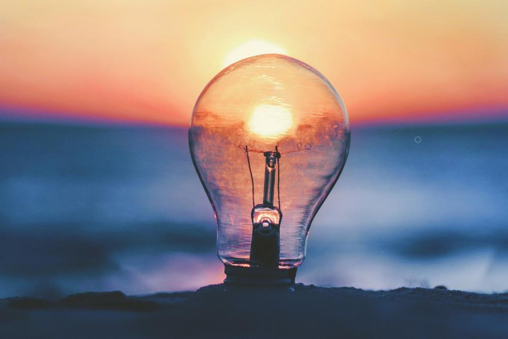 Innovation, lightbulb, sunrise