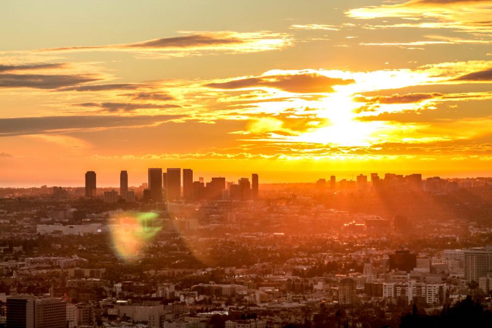 Los Angeles Skyline Sun