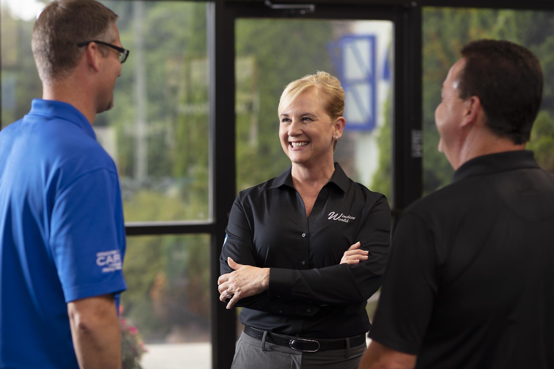 Window World CEO Tammy Whitworth with staff
