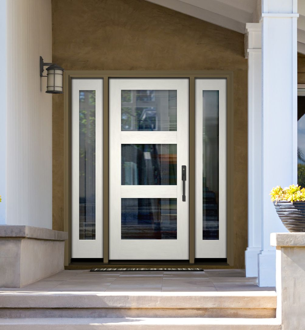 White front door with beige-colored exterior