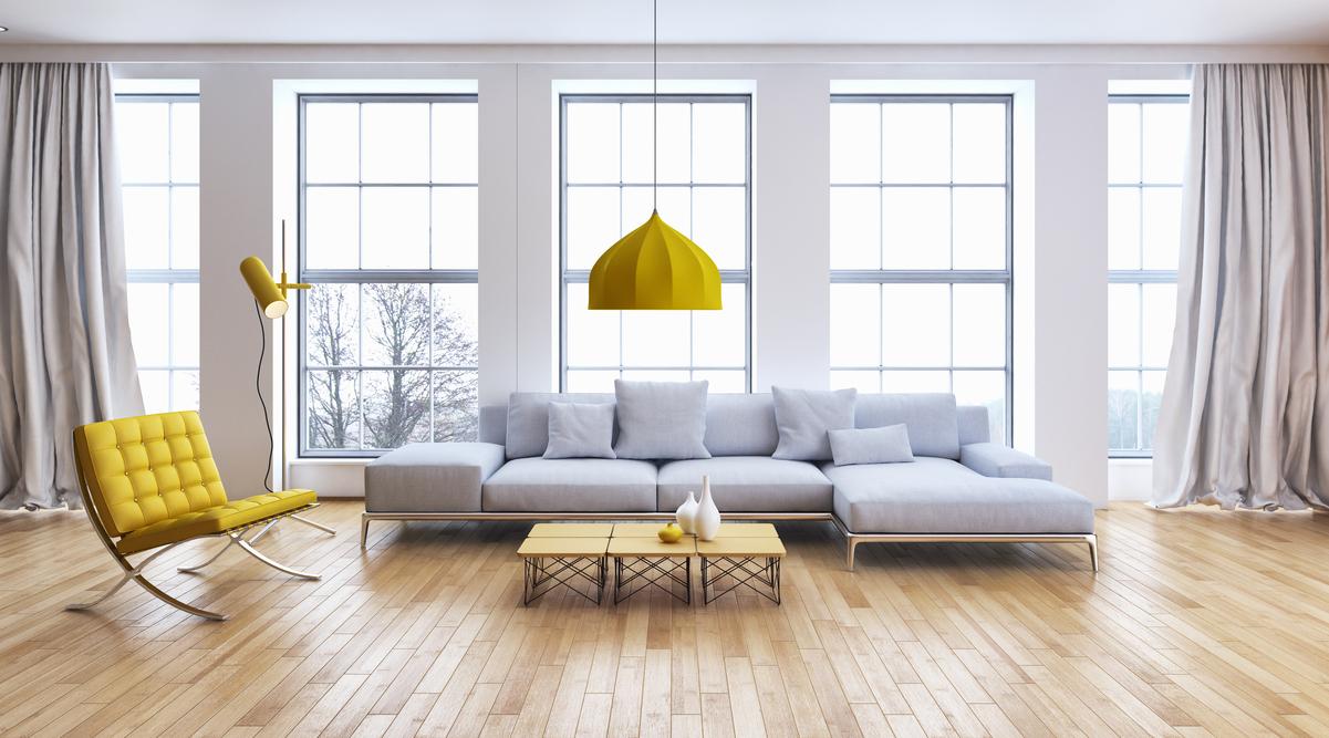 Living room full of windows