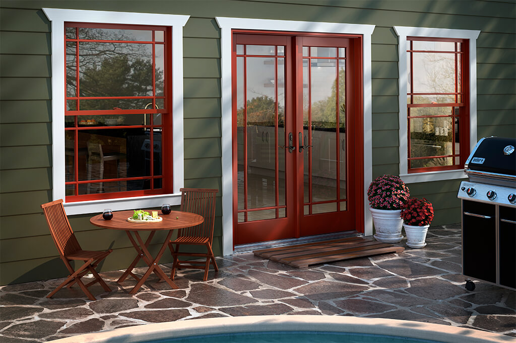 Door and windows with colorful trim