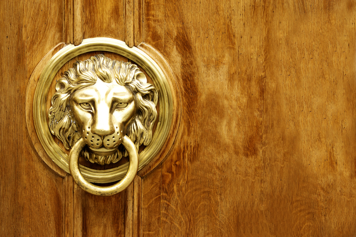 A dramatic front door knocker