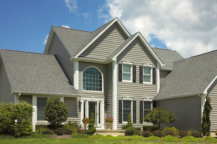 Traditional style home with gray siding