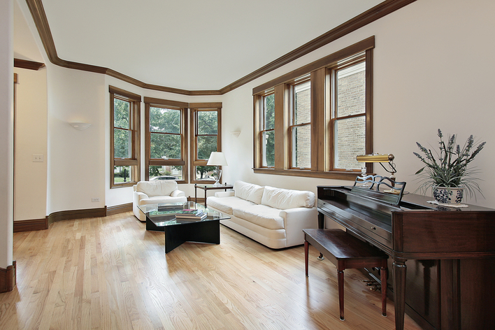 Wood frame windows in a living area