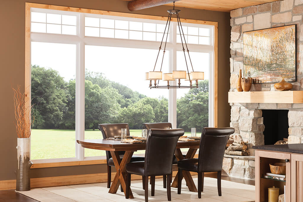 Expansive kitchen window in dining room