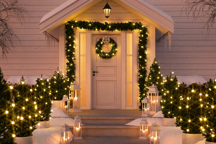 Christmas decorations on a porch