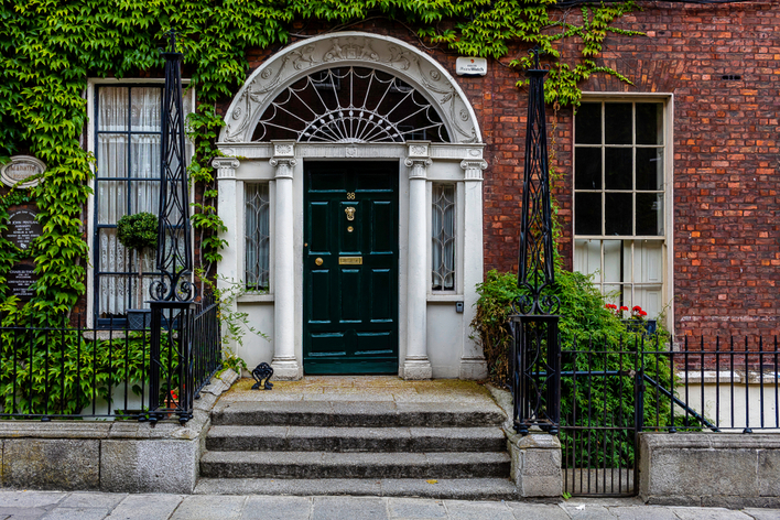 Traditional door on a house in Dublin, Ireland