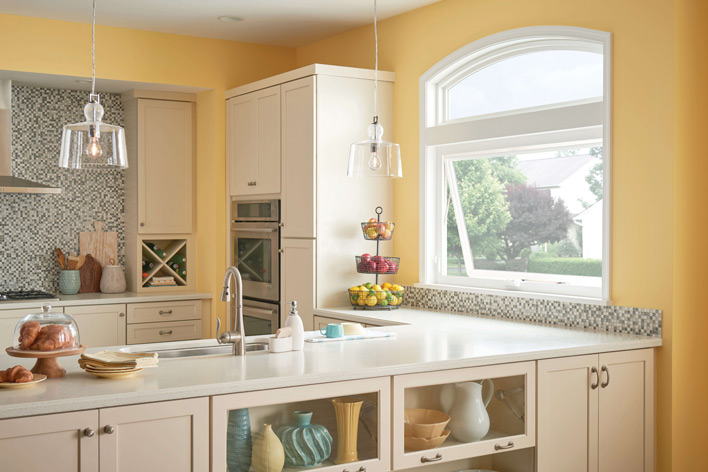 Sunny kitchen with awning windows