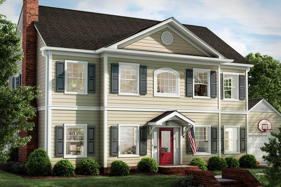 Home Exterior With Red Front Door Window World