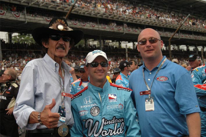 Richard Petty, John Andretti, and Todd Whitworth at the track