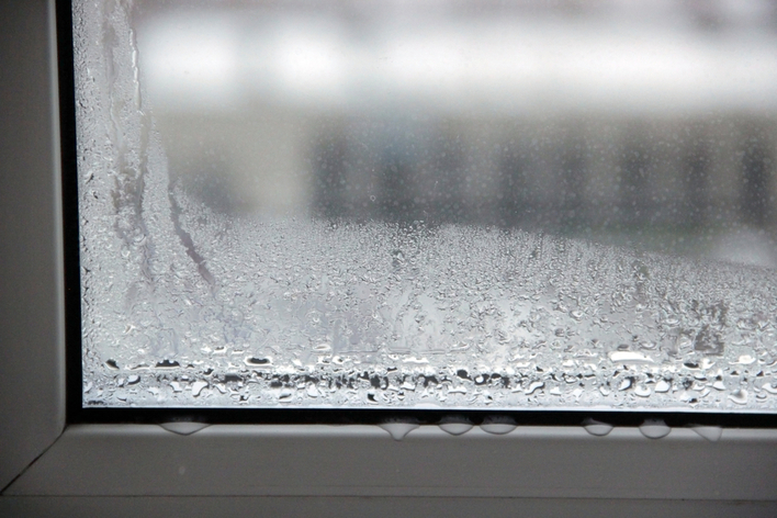 Condensation forming on a window