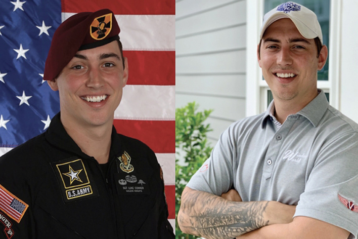 Side-by-side view of a Window World design consultant and U.S. Army member