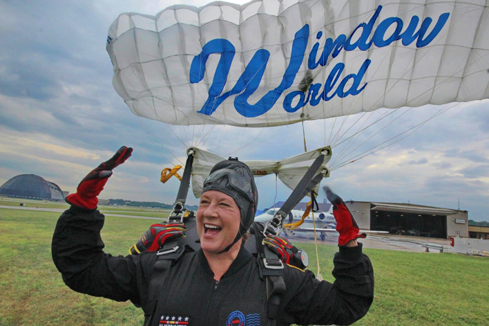 Window World CEO Tammy Whitworth parachutes with the All Veteran Group