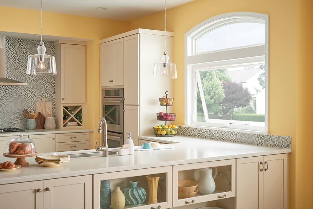 Kitchen with big windows that open
