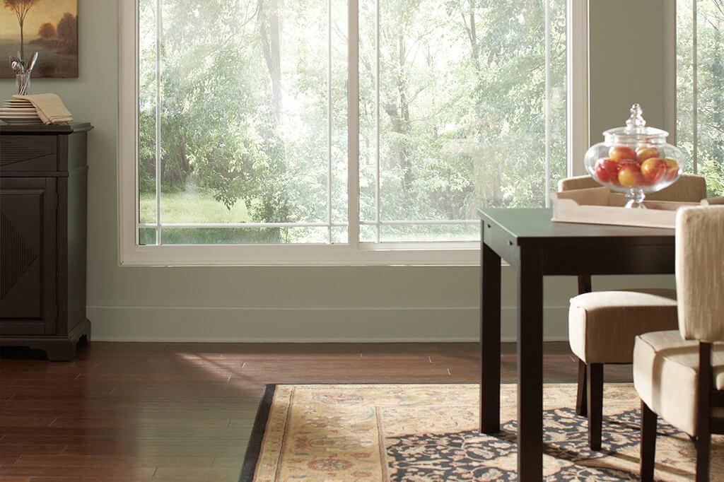 Hardwood floors in a dining room