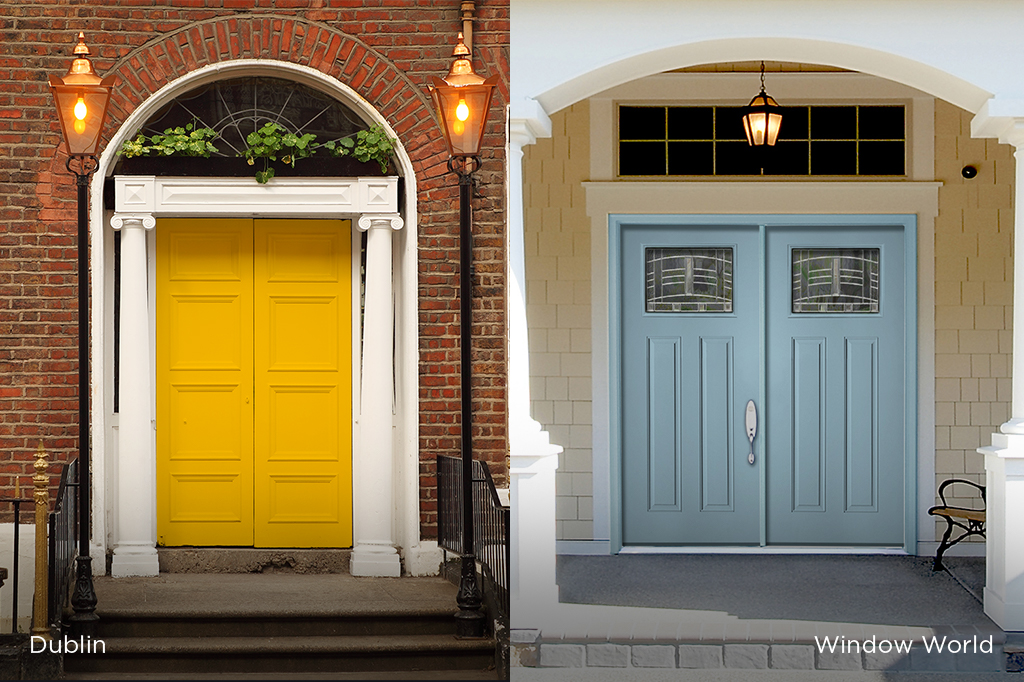 Side-by-side view of a door from Dublin and a door from Window World