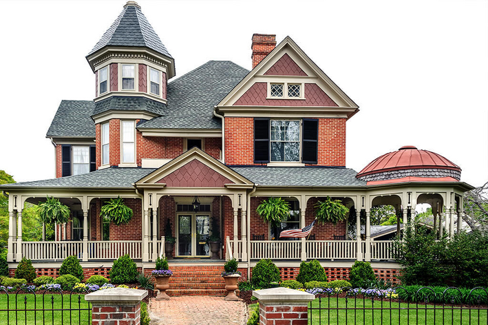 Outside view of ornate Victorian home