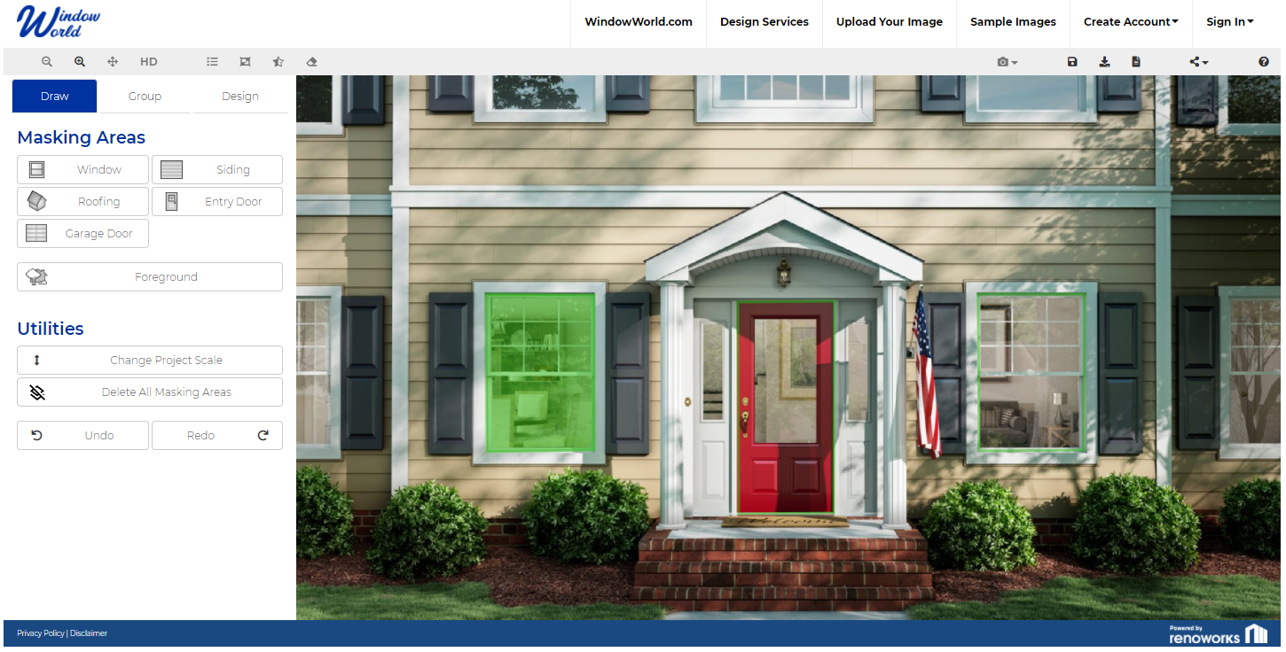 Masking a home remodel design in Window World's Visualizer