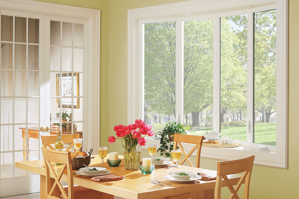 Bow windows with natural sunlight coming in