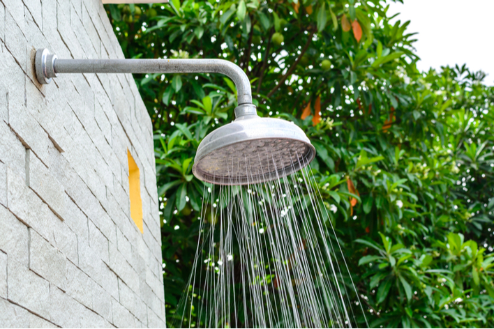 Outdoor patio with an outdoor shower