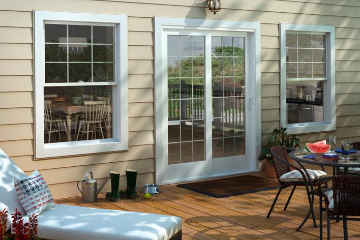 A sliding patio door and outdoor deck