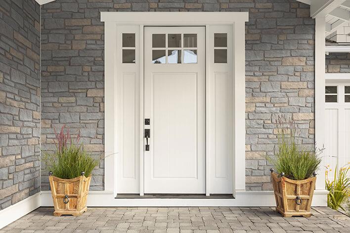 Modern white entry door