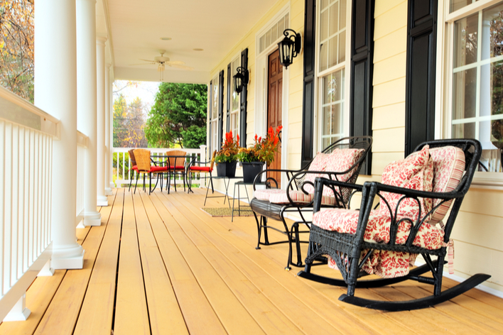 A new front porch updates the exterior of this ranch-style house