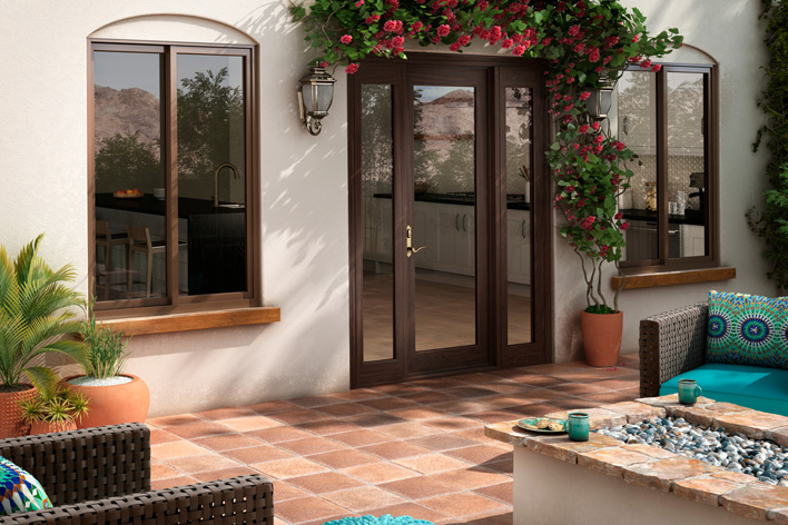 A hinged patio door and outdoor living space
