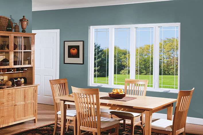 Dining room casement windows creating a focal point of the outside patio
