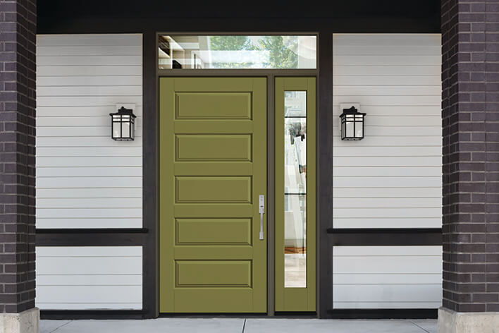 Green entry door with a matching sidelite