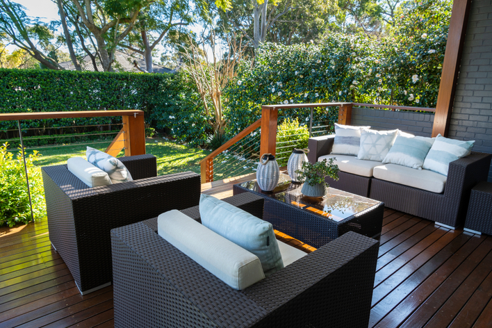 Patio furniture on an outdoor deck