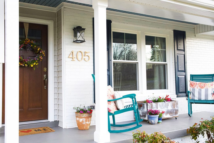 A front porch in spring