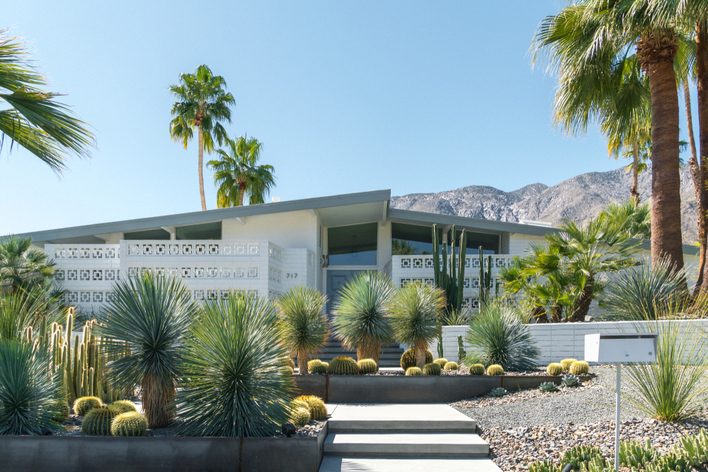 A mid-century modern home with exterior features that include a sloped roof as well as an assortment of cacti and other plants