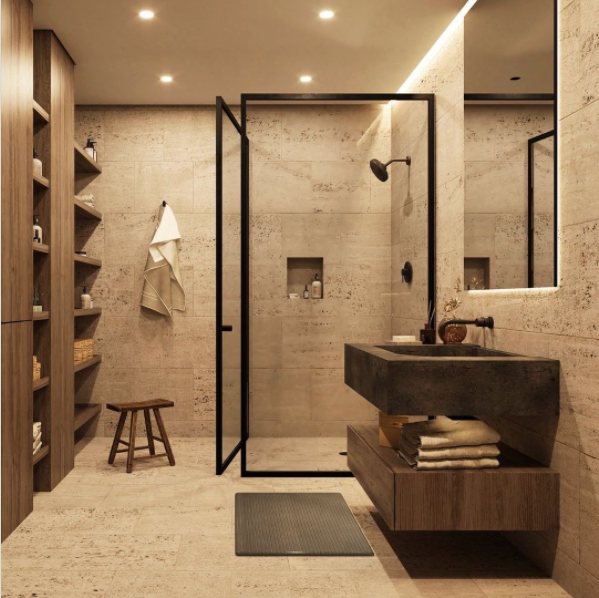 A modern-style bathroom with marble, wood, and glass design