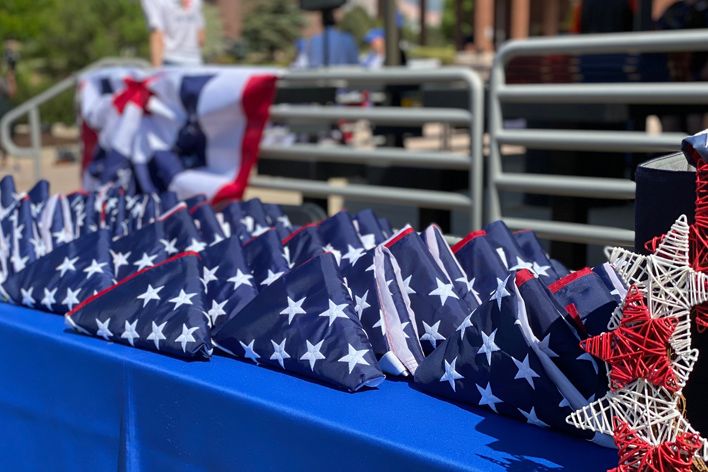 American flags proudly displayed during the Old Glory Exchange event