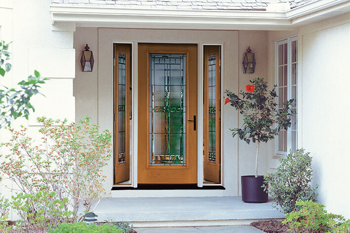 Wood-style front door with glass