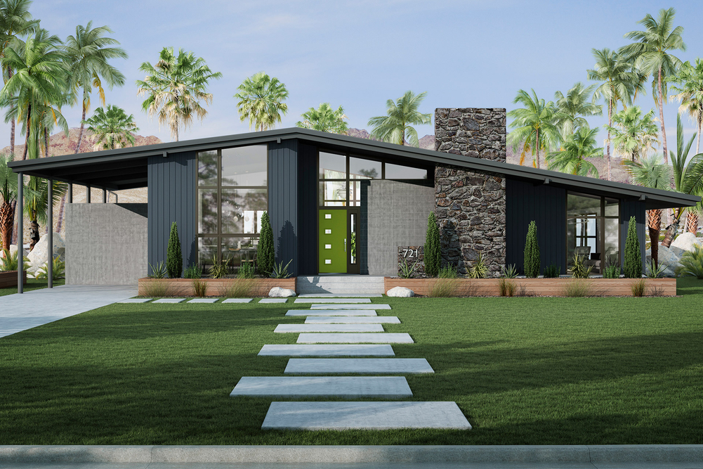A mid-century modern home with large windows, a sloped roof, and a bright green door